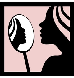 Woman looking in the mirror vector