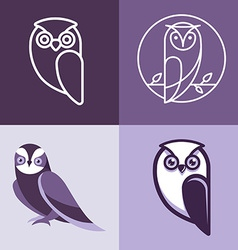 Set of owl logos and emblems vector