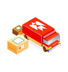 Post office car and package vector