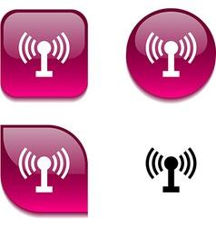 Radio glossy button vector