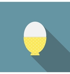 Soft-boiled egg flat icon with long shadow vector