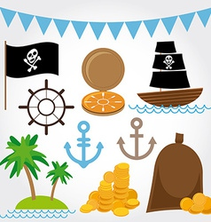Marine pirate set on white background vector