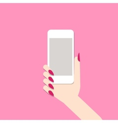 Female hand with mobile phone vector