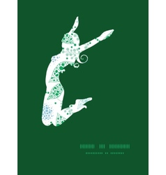 Abstract blue and green leaves jumping girl vector
