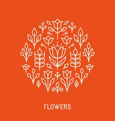 Line logo with flowers vector