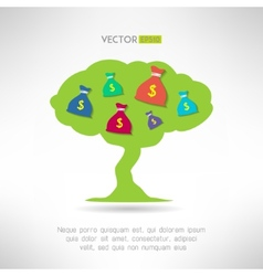 Green tree with money bags prosperity and vector