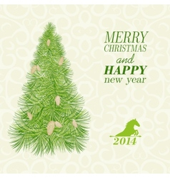 Christmas card with spruce and pinecone vector