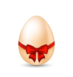 Easter paschal egg with red bow isolated on white vector