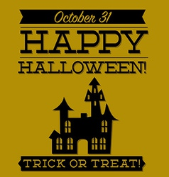 Haunted house typographic halloween card in format vector