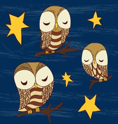 Cute dreamed owles seamless pattern vector