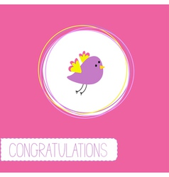 Congratulations card with cute violet bird vector
