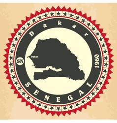 Vintage label-sticker cards of senegal vector