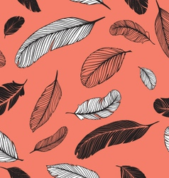 Feathers pattern pink vector