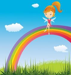 Fairy on a rainbow vector