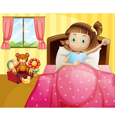 A girl lying in her bed with a pink blanket vector