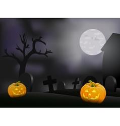 Halloween night background with pumpkin vector