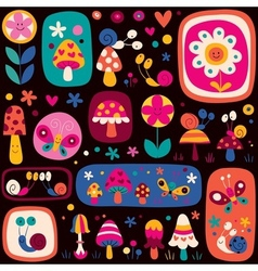 Cute nature pattern vector