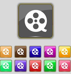 Film icon sign set with eleven colored buttons for vector