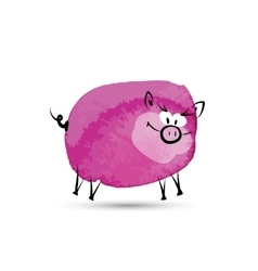 Funny pig watercolor sketch for your design vector