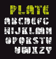 Sans serif stencil plate font military style vector