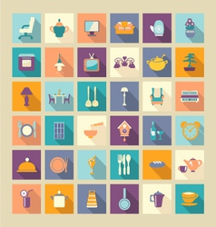 A set of home related icons elements- vector