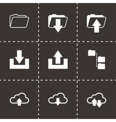 Black ftp icons set vector