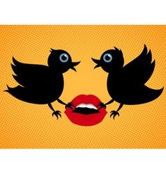 Birds with lips vector