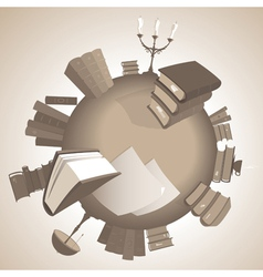 World of knowledge in sepia vector