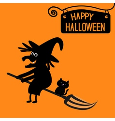 Happy halloween witch and cat card vector