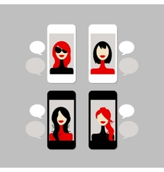 Female face on mobile phone vector