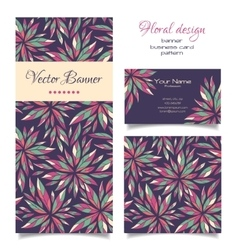 Set of banner business card and pattern vector