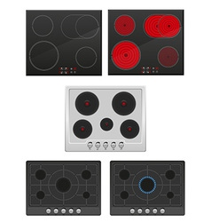 Set surface for electric and gas stove vector