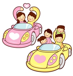 Car ride family and couples home character design vector