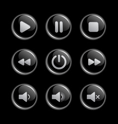 Media player glassy buttons collection vector