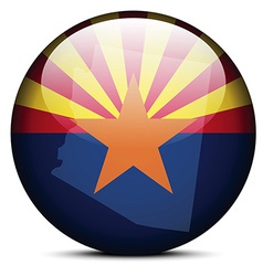 Map on flag button of usa arizona state vector