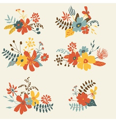 Set of six graphic floral design bunch vector