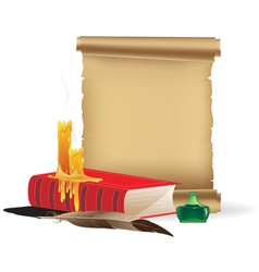 Old paper and book with candles and a feather vector