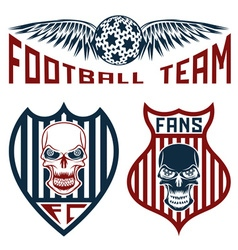 Football team crests set with wings and skulls vector