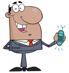 Hispanic businessman holding a ringing cell phone vector