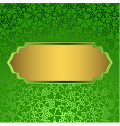 Clover background with empty golden label vector