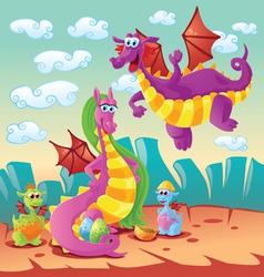 Dragon family scene vector