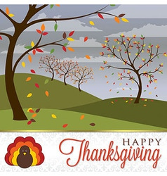 Field of trees thanksgiving card in format vector
