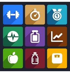 Fitness flat icons set 17 vector
