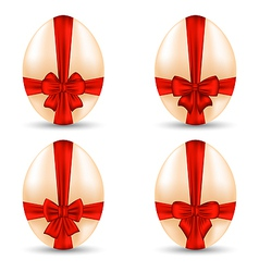 Easter set celebration egg wrapping red bow for vector
