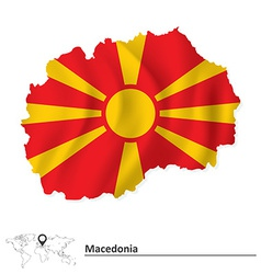 Map of macedonia with flag vector
