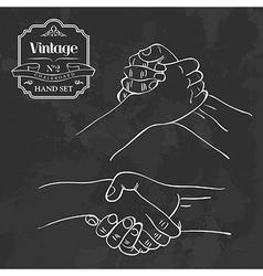 Vintage chalkboard hand shake vector
