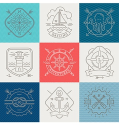 Nauticaladventures and travel emblems and signs vector
