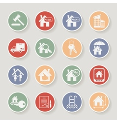 Real estate round icon set vector