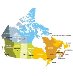 Map of provinces and territories of canada vector