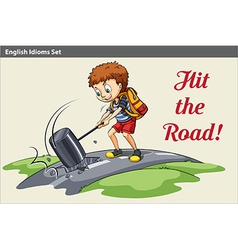 A poster of a boy hitting the road vector